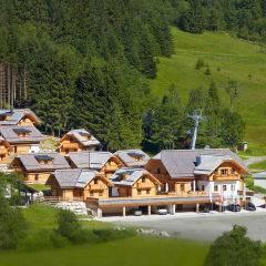 Chaletansicht  mit Fernsicht im Sommer vom JUFA Friends Bergdorf Riesner. Der Ort für erholsamen Familienurlaub und einen unvergesslichen Winter- und Wanderurlaub.
