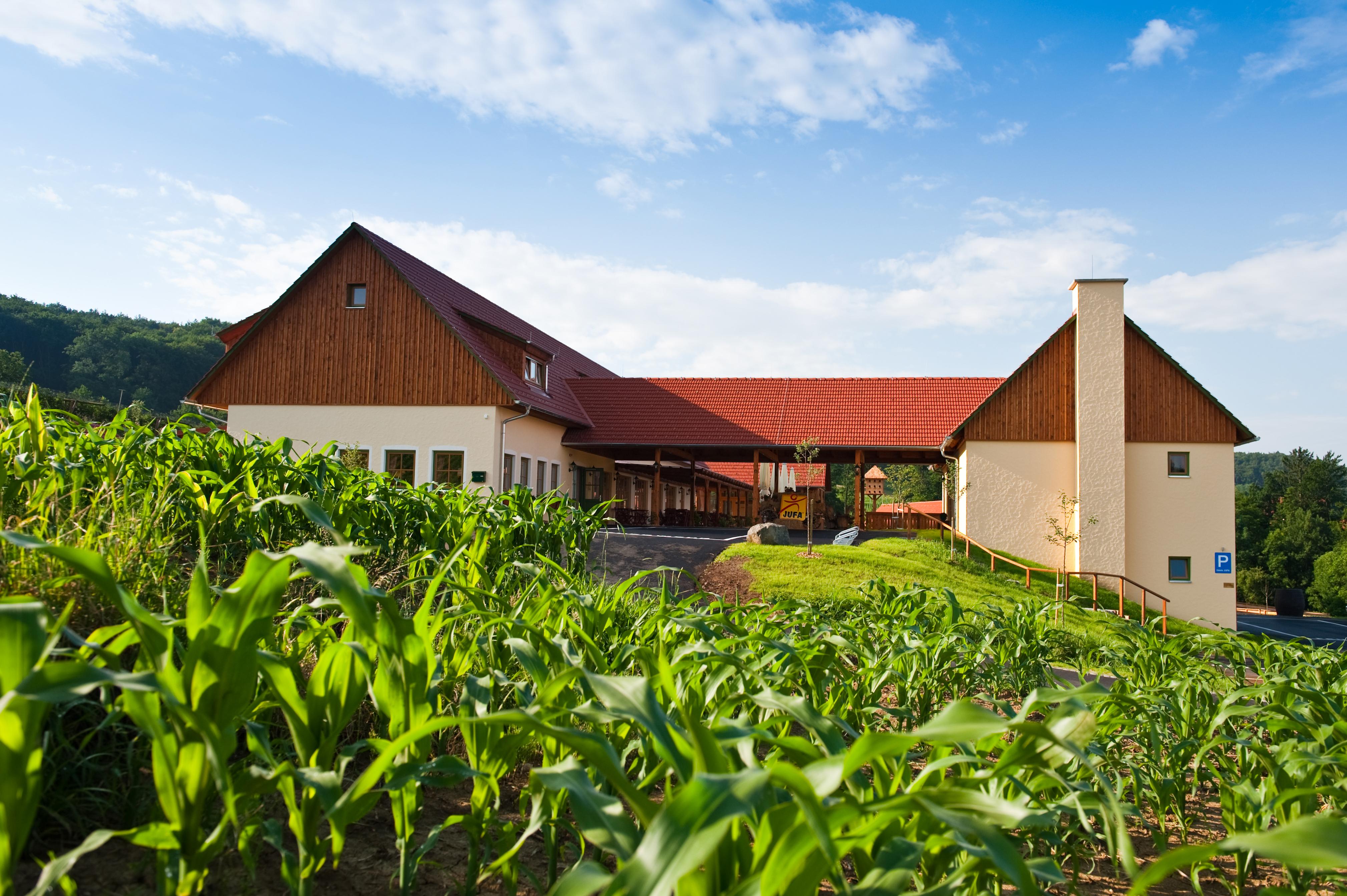 Aussenansicht mit Feld im Sommer vom JUFA Hotel Tieschen - Landerlebnis. Der Ort für erlebnisreichen Natururlaub für die ganze Familie.