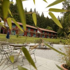 Aussenansicht durch Blätter vom JUFA Natur-Hotel Bruck. Der Ort für erfolgreiche und kreative Seminare in abwechslungsreichen Regionen.