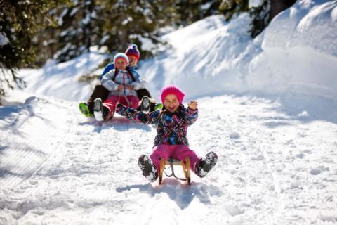 Junge Familie beim Rodeln auf der Naturrodelbahn Planneralm im JUFA Urlaub. Der Ort für erholsamen Familienurlaub und einen unvergesslichen Winterurlaub.