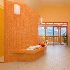 Wellnessbereich mit Dusche mit Terrasse im JUFA Hotel Gitschtal Landerlebnis. Der Ort für kinderfreundlichen und erlebnisreichen Urlaub für die ganze Familie.