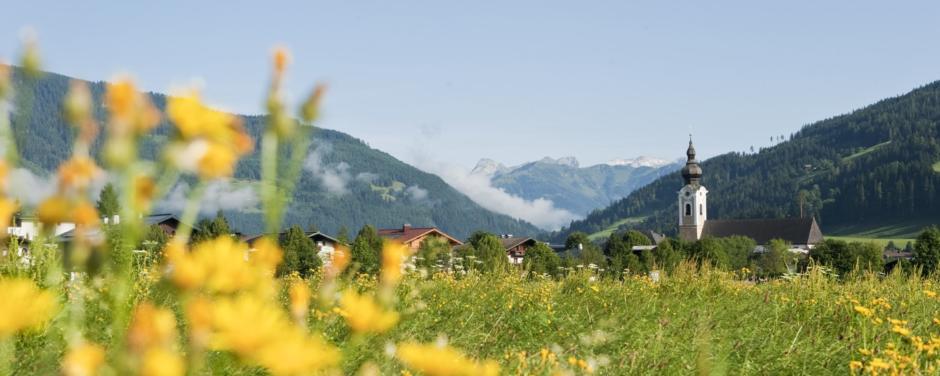 Blumenwiese mit Blick auf Kirche in Altenmarkt-Zauchensee im Sommer in der Nähe von JUFA Hotels. Der Ort für erholsamen Familienurlaub und einen unvergesslichen Winter- und Wanderurlaub.