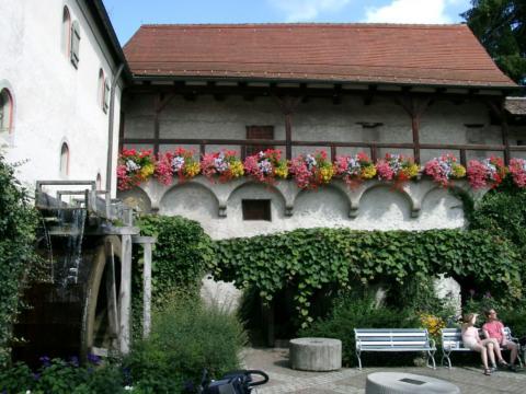 Sie sehen die Museumslandschaft mit einer Eselsmühle in Wangen. JUFA Hotels bietet kinderfreundlichen und erlebnisreichen Urlaub für die ganze Familie.