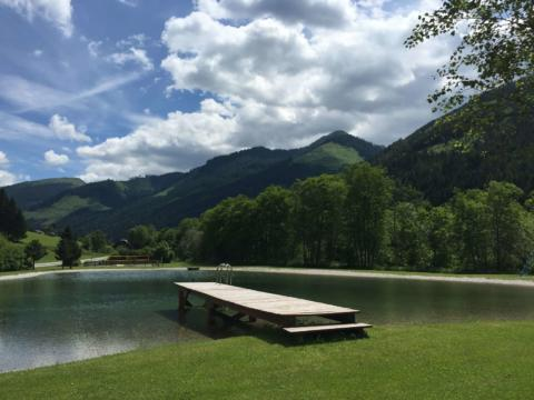 Freizeitanlage Grimming-Donnersbachwald mit Badesee und großer Liegewiese. JUFA Hotels bietet tollen Sommerurlaub an schönen Seen für die ganze Familie.