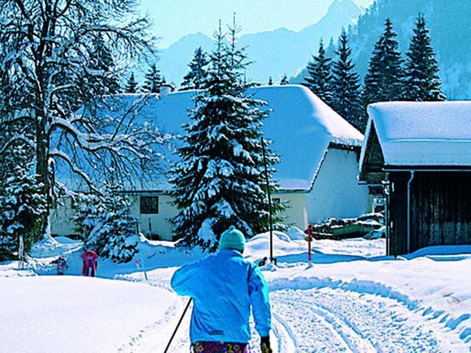 Sie sehen einen Mann beim langlaufen in Grünau im Almtal. JUFA Hotels bietet erholsamen Familienurlaub und einen unvergesslichen Winterurlaub.