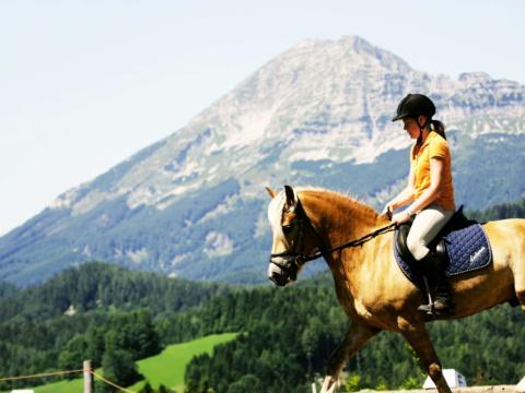 Sie sehen eine Reiterin mit Pferd mit Berg im Hintergrund in Annaberg im Mostviertel. JUFA Hotels bietet Ihnen den Ort für erlebnisreichen Natururlaub für die ganze Familie.