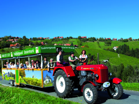 Erwachsene fahren auf einem Traktoranhänger von der Traktorgaudi Steiermark durch sommerliche Landschaft. JUFA Hotels bieten erholsamen Familienurlaub und einen unvergesslichen Winter- und Wanderurlaub.