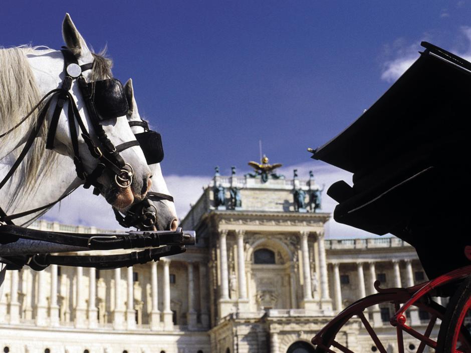 Hofburg mit Pferdekutschen in Wien. JUFA Hotels bietet erlebnisreichen Städtetrip für die ganze Familie und den idealen Platz für Ihr Seminar.