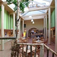 Gemütliches Café in der Lobby im JUFA Hotel Murau. Der Ort für erholsamen Familienurlaub und einen unvergesslichen Winter- und Wanderurlaub.