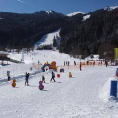 Kinder lernen das Skifahren in der Kinderskischaukel im Skigebiet Riesneralm. JUFA Hotels bietet erholsamen Familienurlaub und einen unvergesslichen Winterurlaub.