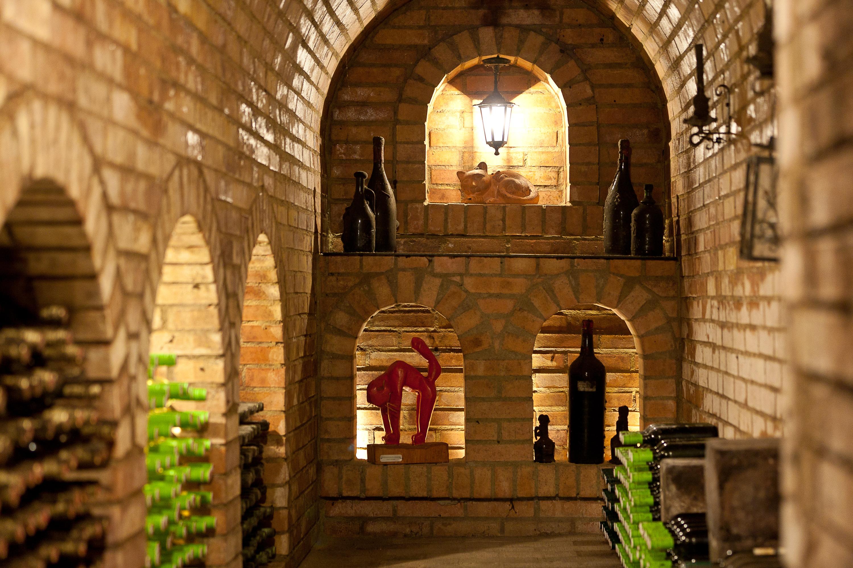 Beleuchteter Weinkeller mit Deko. Weinerleben in unterschiedlichen Facetten im JUFA Weinviertel - Hotel in der Eselsmühle. Der Ort für erfolgreiche und kreative Seminare in abwechslungsreichen Regionen.
