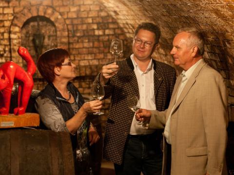 Drei Menschen mit Gläsern in der Hand im Weinkeller. Weinerleben in unterschiedlichen Facetten im JUFA Weinviertel - Hotel in der Eselsmühle.  Der Ort für erfolgreiche und kreative Seminare in abwechslungsreichen Regionen.
