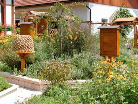 Der wunderschöne Garten vom Bienengarten Edelsbach mit Bienenstöcken im Sommer. JUFA Hotels bietet Ihnen den Ort für erlebnisreichen Natururlaub für die ganze Familie.
