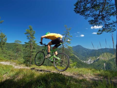 Mountainbiker fährt durch den Wald im Gebirge und springt. JUFA Hotels bietet Ihnen den Ort für erlebnisreichen Natururlaub für die ganze Familie.