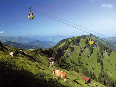 Die Oberstaufen Hochgratbahn in Wangen im Allgäu mit Bergpanorama und einer Kuh im Vordergrund. Blick auf den Oberstaufen in Wangen im Allgäu. JUFA Hotels bietet Ihnen den Ort für erlebnisreichen Natururlaub für die ganze Familie.