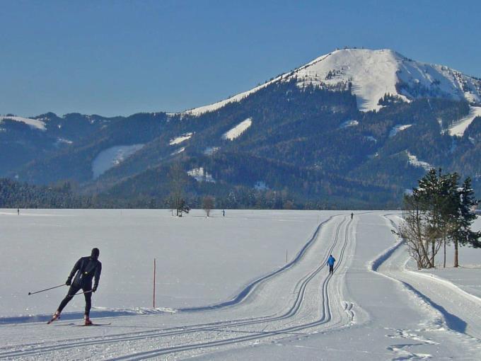 Wintersportler beim Langlaufen und Skating auf perfekt präparierter Loipe im Mariazeller Land in der Hochsteiermark. JUFA Hotels bietet erholsamen Familienurlaub und einen unvergesslichen Winterurlaub.