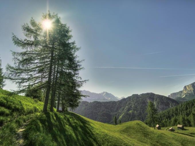 Sie sehen eine Almwiese mit Bergen im Hintergrund. JUFA Hotels bietet Ihnen den Ort für erlebnisreichen Natururlaub für die ganze Familie.