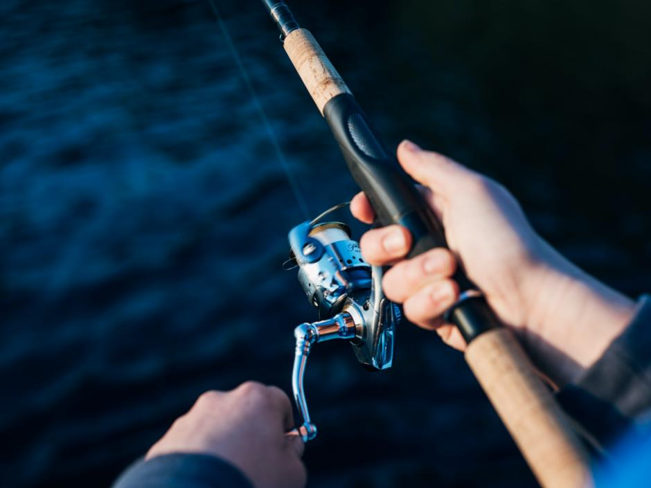 Sie sehen eine Angelroute in den Händen eines Fischers