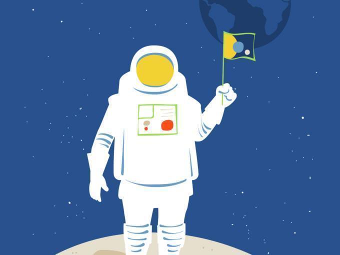 Sie sehen einen Astronaut mit Fahne auf dem Mond. Das JUFA Hotel Nördlingen im Ries beitet erlebnisreichen Urlaub.