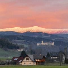 Blick auf Schloss Starßburg in der Nähe vom JUFA Hotel Gurk vor den Gurktaler Alpen. JUFA Hotels bieten erholsamen Familienurlaub und einen unvergesslichen Winter- und Wanderurlaub.