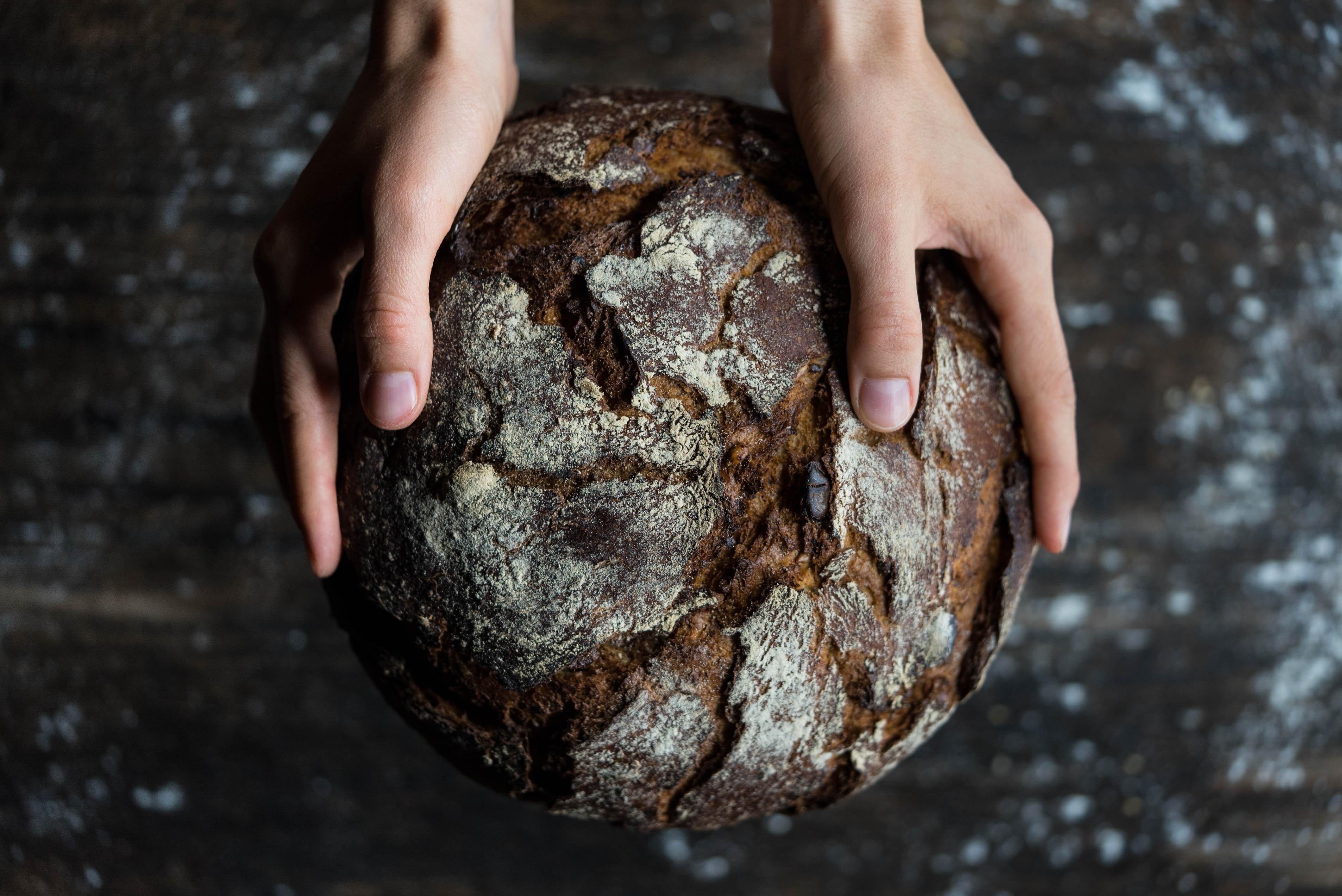 Sie sehen Hände, die ein Brot halten. JUFA Hotels bietet kinderfreundlichen und erlebnisreichen Urlaub für die ganze Familie.