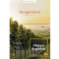 Sie sehen das Titelblatt des Burgenland-Prospekts von JUFA Hotels. Der Ort für erlebnisreichen Natururlaub für die ganze Familie.