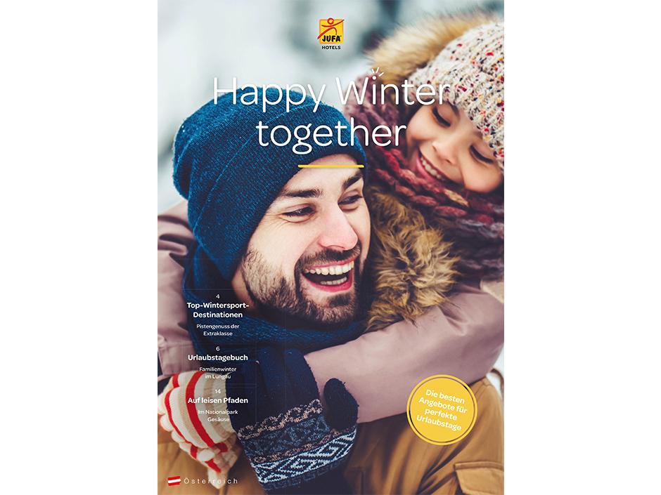 Sie sehen das Titelblatt des Wintermailing-Prospekts von JUFA Hotels. Der Ort für erlebnisreichen Winterurlaub für die ganze Familie.