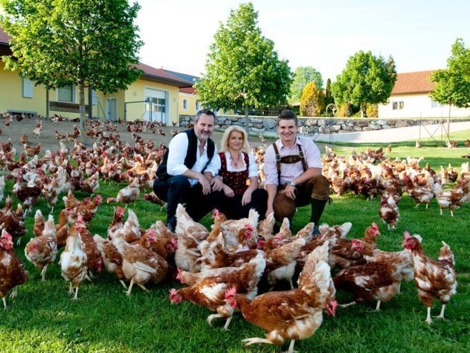 Sie sehen die Betreiberfamilie von Höllerls Freilandeier in Loipersdorf mit Hühnern. JUFA Hotels bietet kinderfreundlichen und erlebnisreichen Urlaub für die ganze Familie.