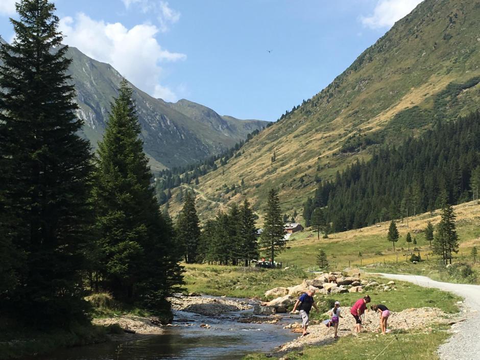 Sie sehen den Eselsberger Almerlebnisweg mit einem Fluss im Sommer. JUFA Hotels bietet erholsamen Familienurlaub und einen unvergesslichen Winter- und Wanderurlaub.