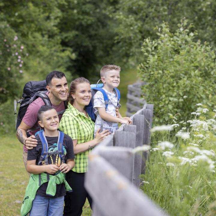 Sie sehen eine Familie beim Wandern, die die Aussicht genießt.