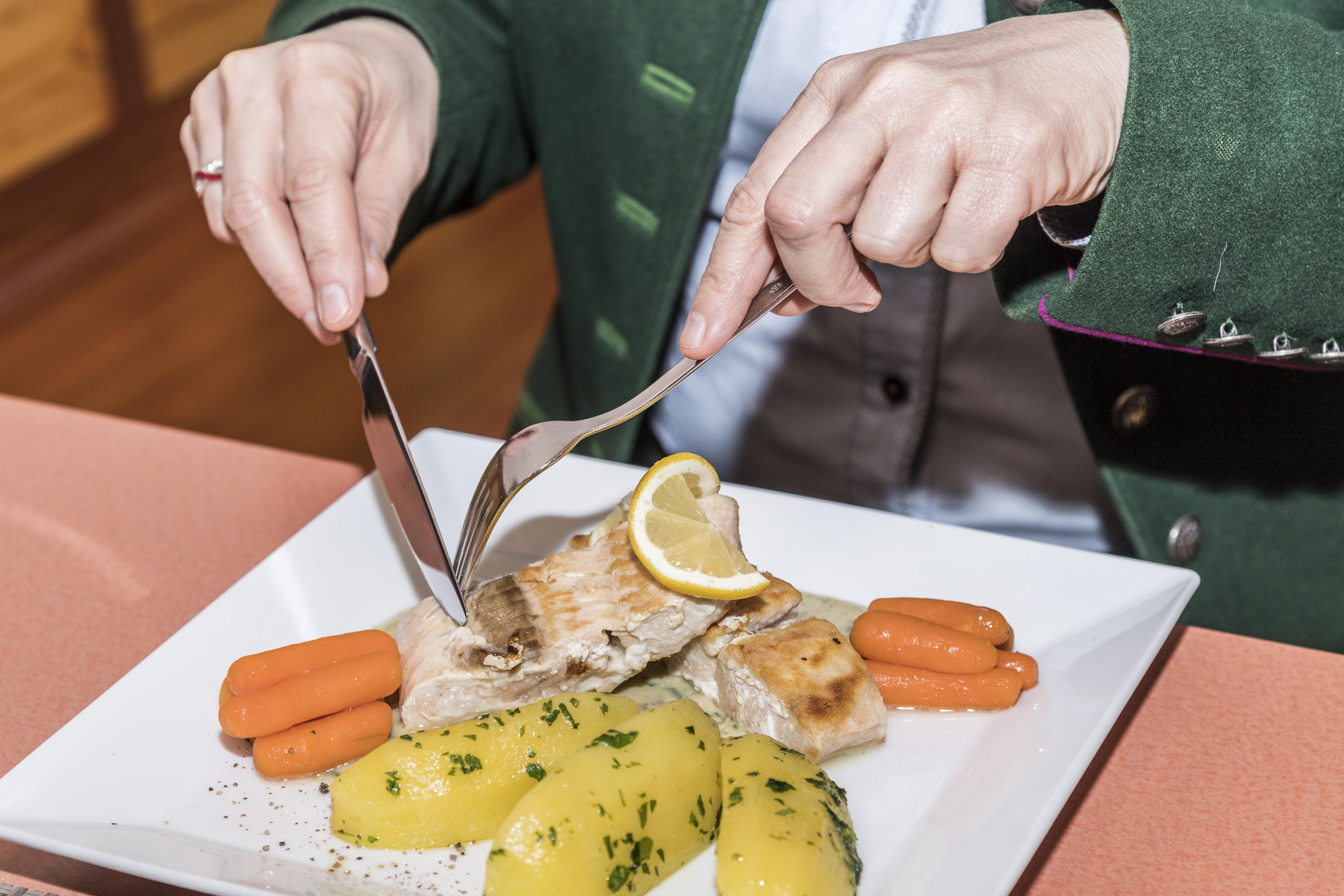 Sie sehen ein Fischgericht im Restaurant im JUFA Hotel Grundlsee*** mit Gemüse. JUFA Hotels bietet erholsamen Familienurlaub und einen unvergesslichen Winterurlaub.