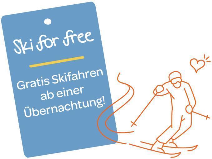 Sie sehen eine Illustration zum Thema Ski for free. JUFA Hotels bietet erholsamen Familienurlaub und einen unvergesslichen Winterurlaub.