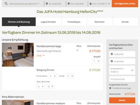 Sie sehen den Buchungsschritt Zimmerauswahl auf der Website von JUFA Hotels. Der Ort für erlebnisreichen Natururlaub für die ganze Familie.