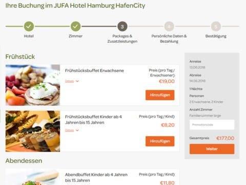Sie sehen den Buchungsschritt der Zusatzleistungen auf der Website von JUFA Hotels. Der Ort für erlebnisreichen Natururlaub für die ganze Familie.