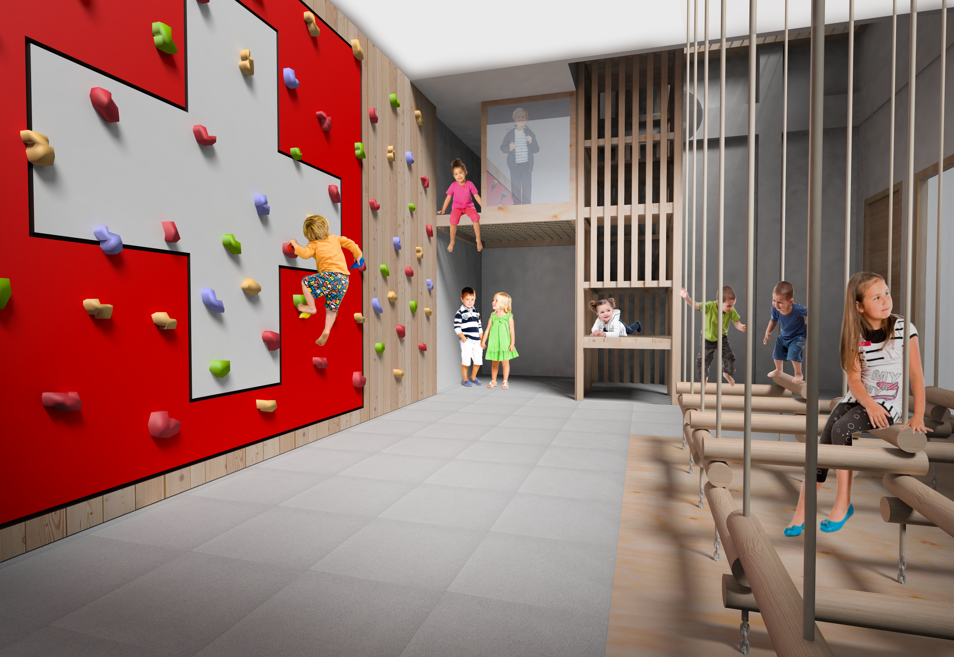 JUFA Savognin Schaubild Indoorspielbereich Kletterwand