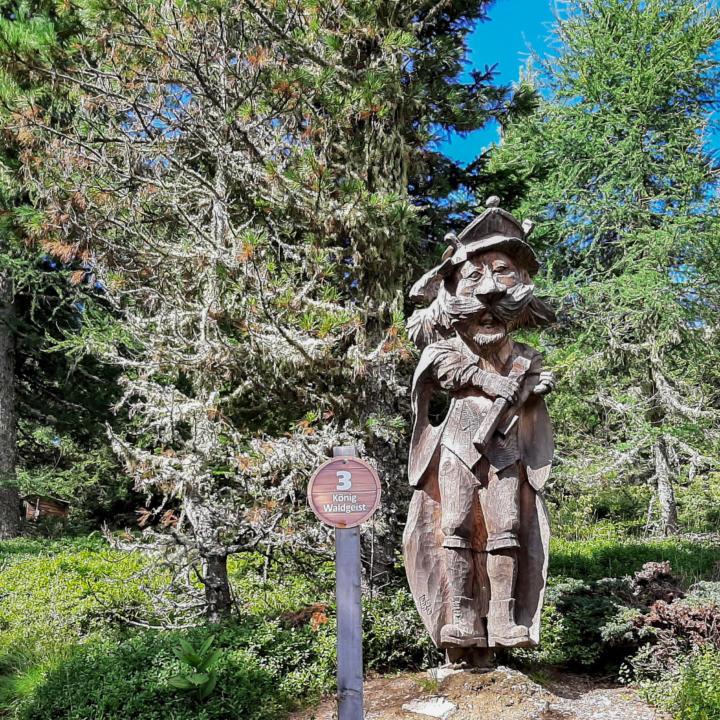 Sie sehen den aus Holz geschnitzten König Waldgeist. JUFA Hotels bietet erholsamen Ski- und Wanderurlaub für Familien in Kärnten.