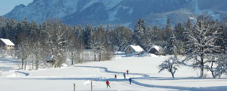 Wintersportler beim klassischen Langlaufen und sportlichen Skating in der Langlaufregion im Nationalpark Gesäuse in der Steiermark. JUFA Hotels bietet erholsamen Familienurlaub und einen unvergesslichen Winterurlaub.
