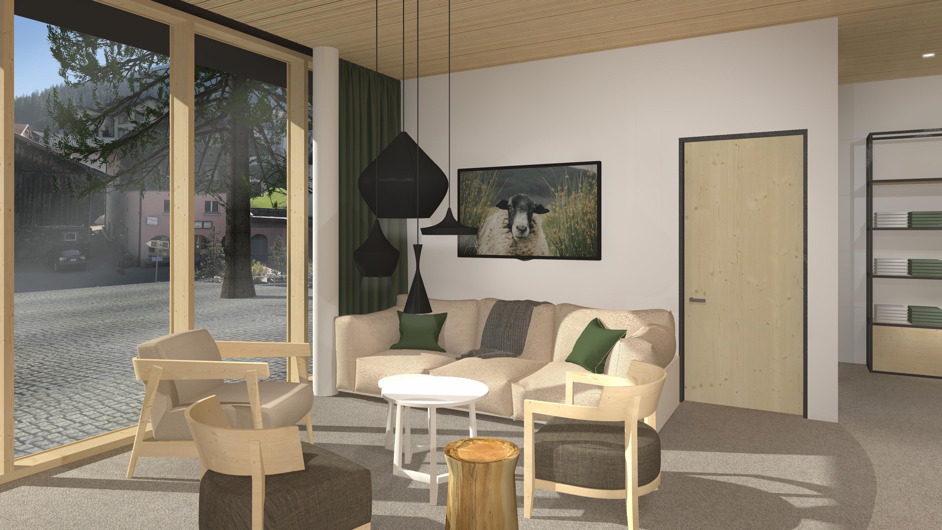JUFA Savognin Tisch Couch Lobby