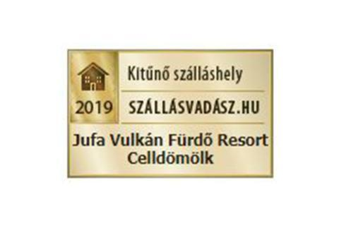 Sie sehen die Auszeichnung von budapesthotelstart.com für das JUFA Vulkan Thermen-Resort in Ungarn.