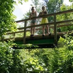 Sie sehen zwei Mädchen auf einer Brücke im Weitental in der Nähe des Ridor Naturerlebnis-Spielplatzes. JUFA Hotels bietet Ihnen den Ort für erlebnisreichen Natururlaub für die ganze Familie.