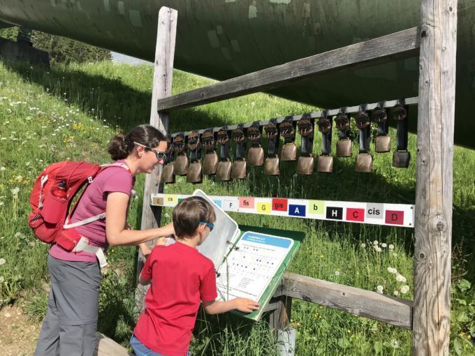 Sie sehen Mama Schmidt und ihren Sohn beim Kuhglocken-Läuten im Montafon im Sommer. JUFA Hotels bietet Ihnen den Ort für erlebnisreichen Natururlaub für die ganze Familie.