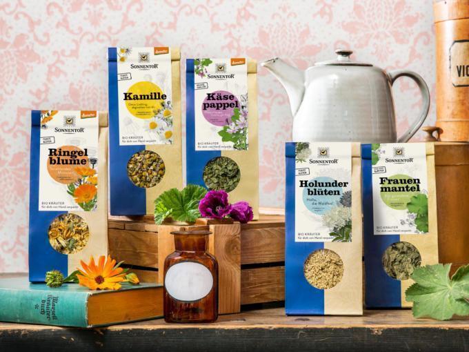 Sie sehen eine Auswahl aus dem Sonnentor Tee-Sortiment
