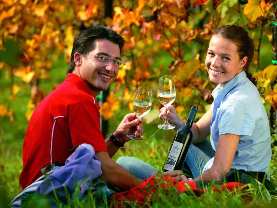 Paar trinkt Wein in einer Weinlandschaft in der Steiermark. JUFA Hotels bietet erholsamen Familienurlaub und einen unvergesslichen Winter- und Wanderurlaub.