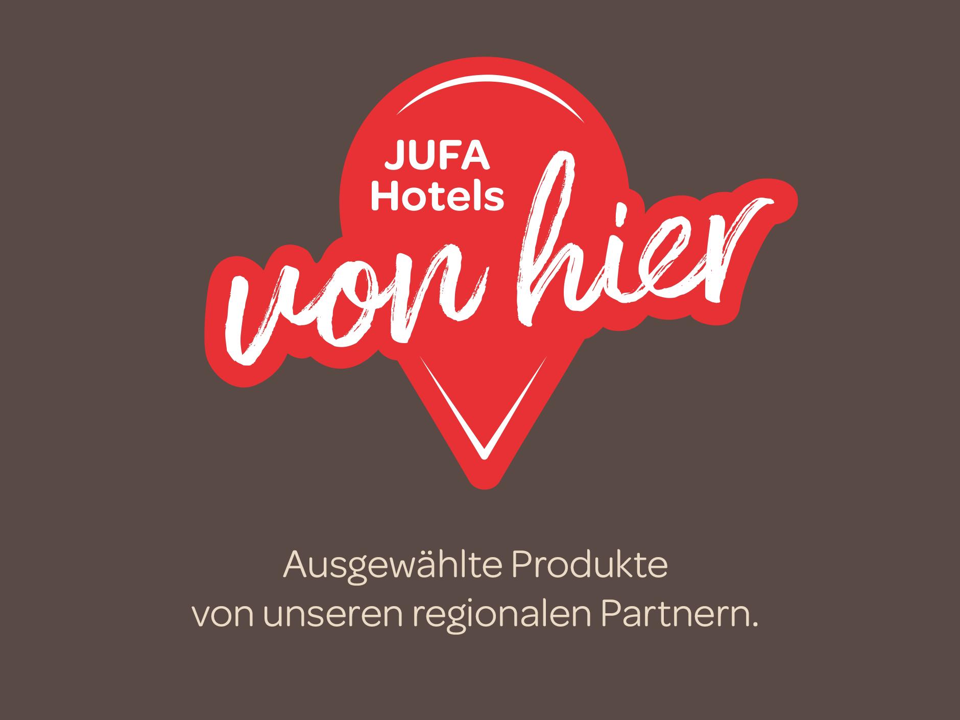 Sie sehen das Logo Regionalität von JUFA Hotels.