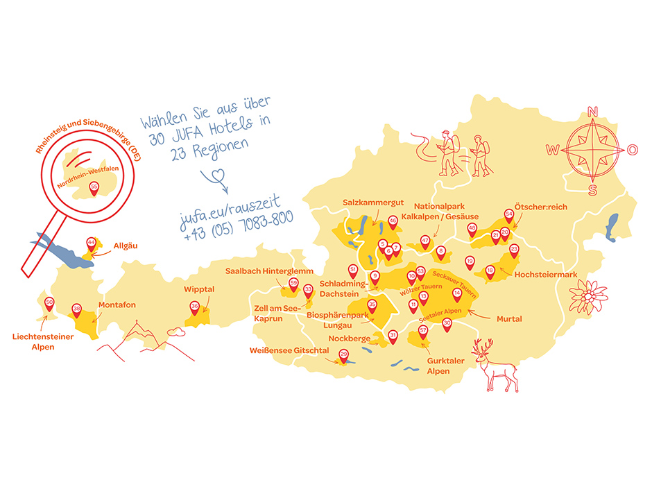 Sie sehen die Regionskarte der JUFA Hotels in Deutschland, Österreich, Liechtenstein und Ungarn in Webversion. JUFA Hotels bietet kinderfreundlichen und erlebnisreichen Urlaub für die ganze Familie.