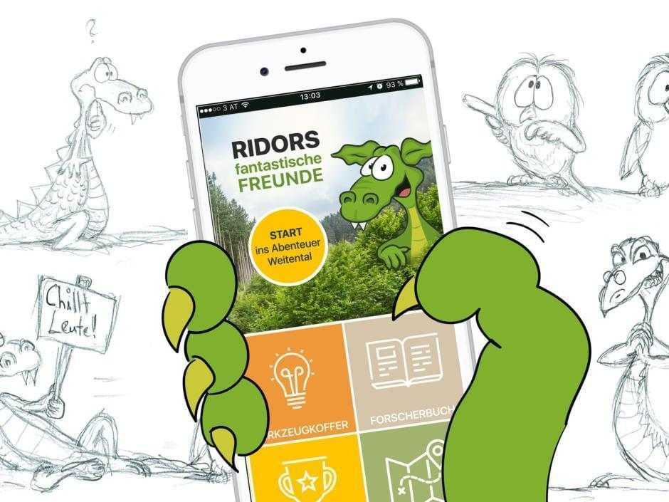 Sie sehen das Scribble der Ridor App mit Smartphone. JUFA Hotels bietet Ihnen den Ort für erlebnisreichen Natururlaub für die ganze Familie.