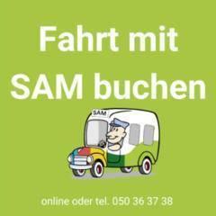 Sie sehen das Logo Sammeltaxi SAM Oststeiermark. JUFA Hotels bietet erholsamen Familienurlaub und einen unvergesslichen Winter- und Wanderurlaub.
