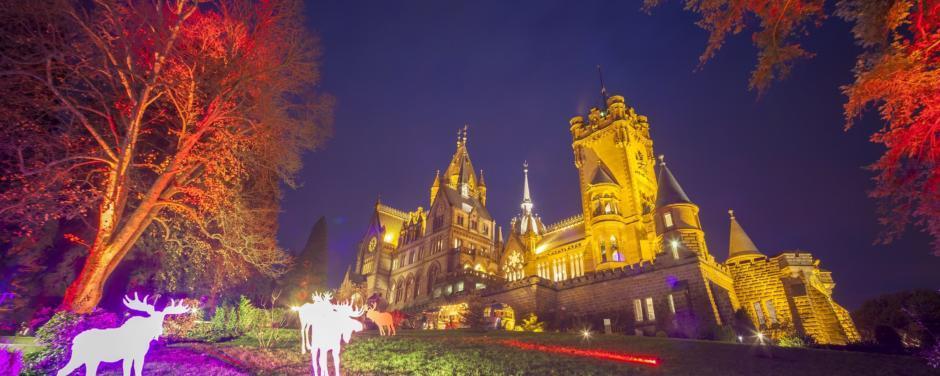 Sie sehen Schloss Drachenburg in Königswinter mit festlicher Beleuchtung am Abend. JUFA Hotels bietet erlebnisreichen Städtetrip für die ganze Familie und den idealen Platz für Ihr Seminar.
