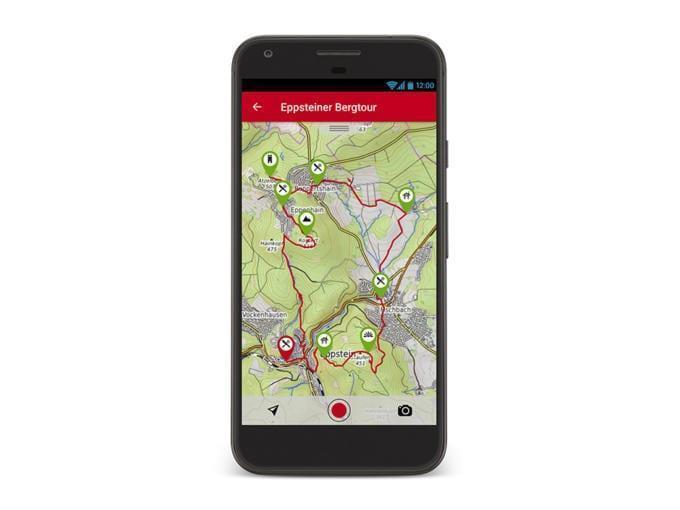 Sie sehen ein Smartphone mit Rother Wander App. JUFA Hotels bietet erholsamen Familienurlaub und einen unvergesslichen Wanderurlaub.