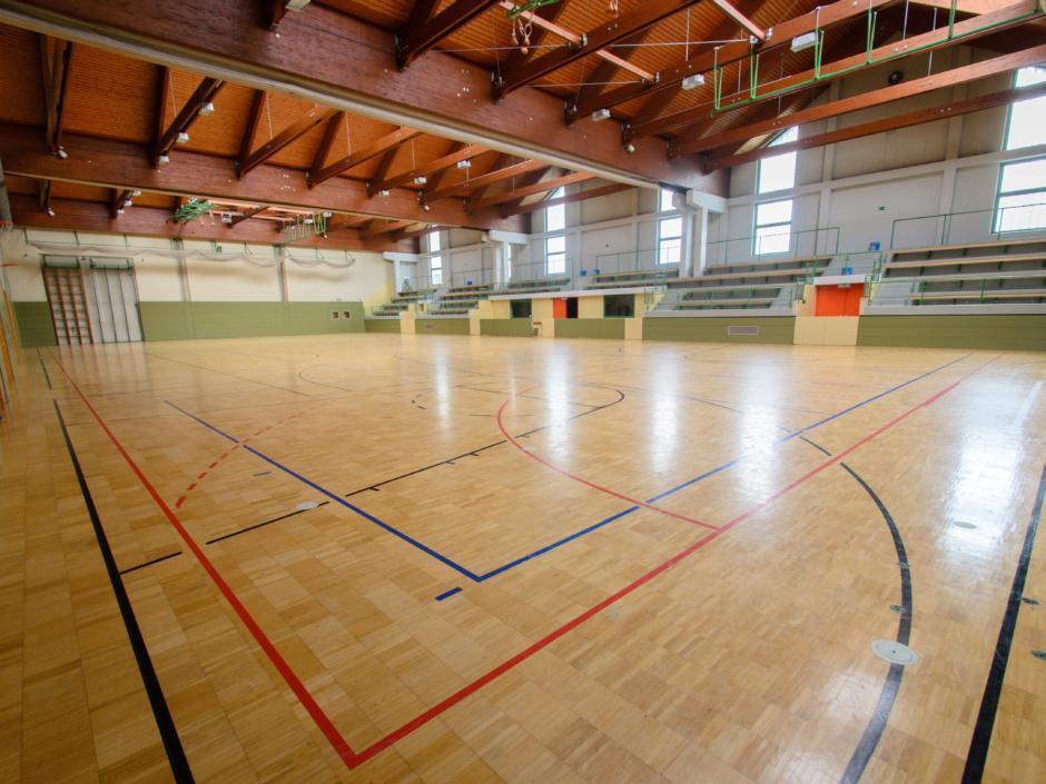 Sie sehen die Sporthalle mit Tribüne im JUFA Hotel Gnas Sport-Resort. Der Ort für erfolgreiches Training in ungezwungener Atmosphäre für Vereine und Teams.